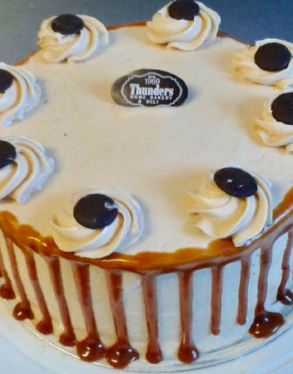 Thunders Salted Caramel Drip Cake