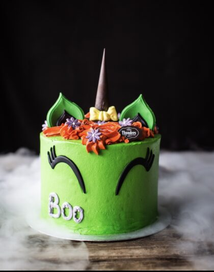 'Boo' Halloween Unicorn Cake