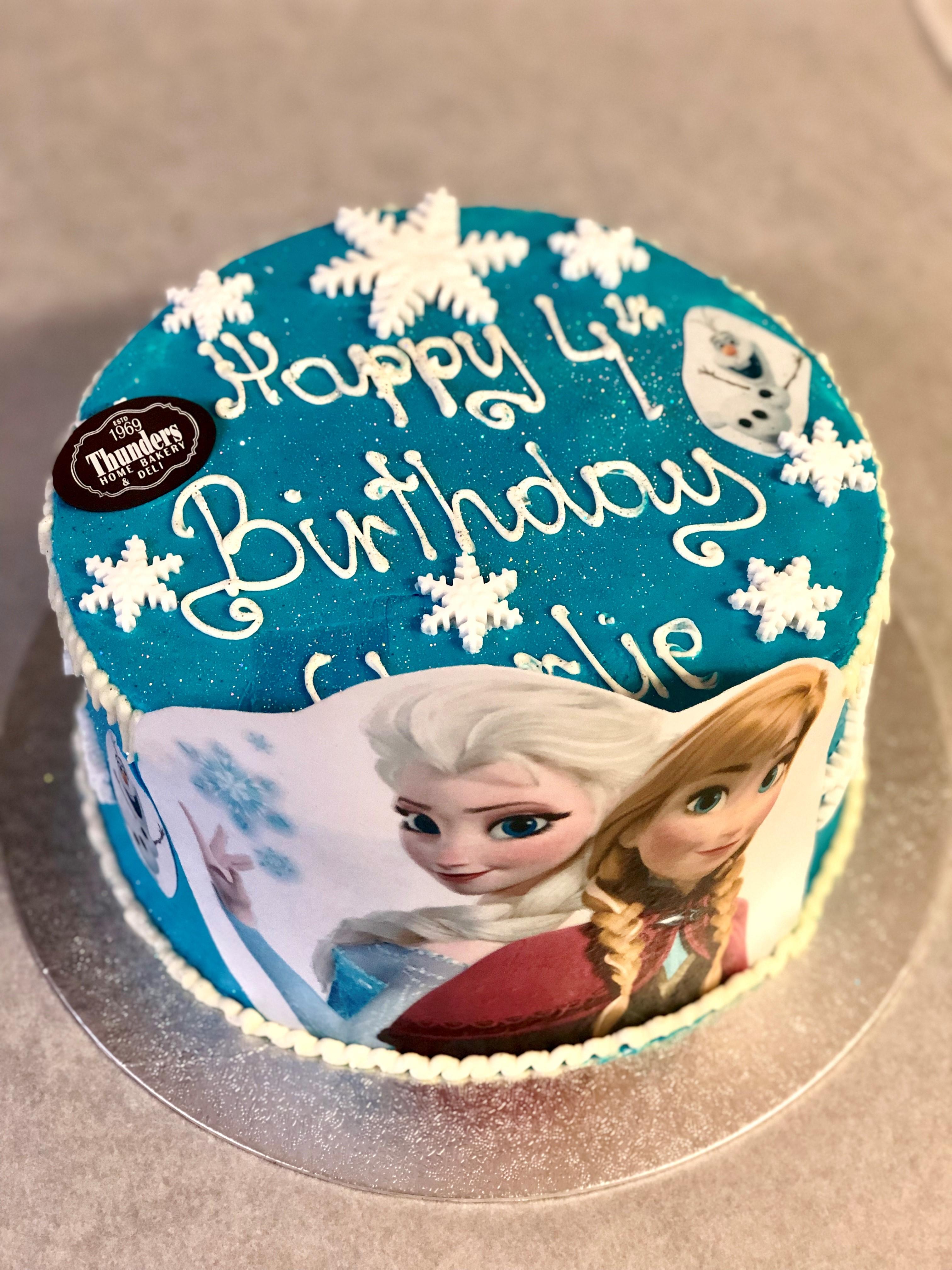 Awe Inspiring Frozen Movie Cake Thunders Bakery Funny Birthday Cards Online Elaedamsfinfo