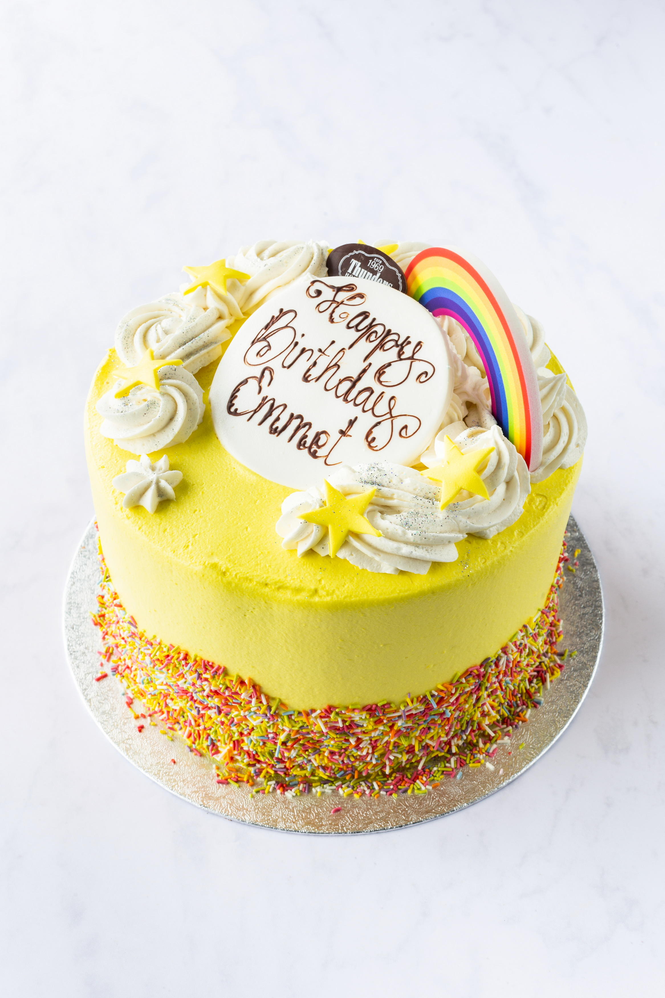 Thunders Novelty Rainbow Sprinkle Birthday Cake