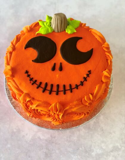 Halloween Pumpkin Head Cake